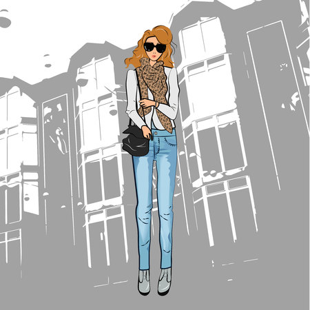 Fashionable cute girl in a jacket, blue jeans trousers, sunglasses and ankle boots