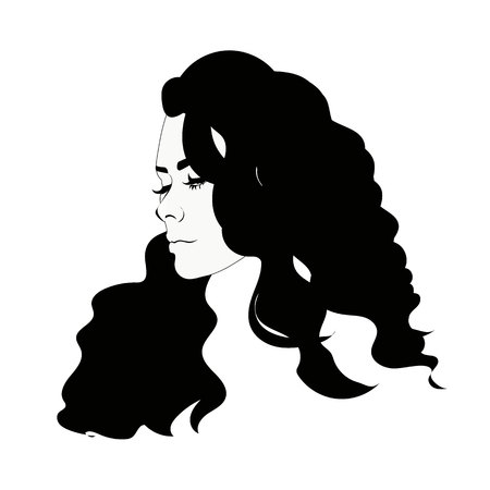 haircut: Silhouette of female head, black and white portrait