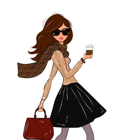 Fashionable cute girl in cravat with leopard print and black midi skirt with a coffee in her hand walking down the street, vector illustration Illustration