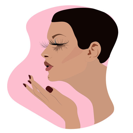 Beautiful woman face Fashion icon in vector