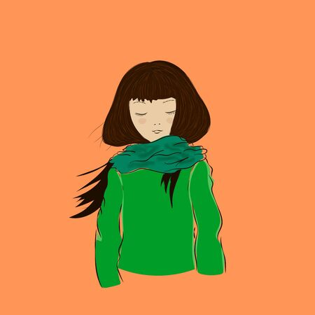 Cute winter girl with closed eyes dressed in green scarf portrait in vector