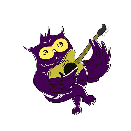 A Cute Owl Singing While Strumming His Guitar - Vector Illustration Illustration