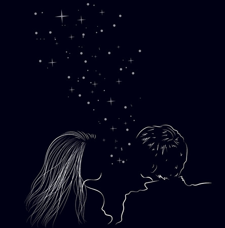 Two enamored lovers on the night sky with shining stars, illustration.