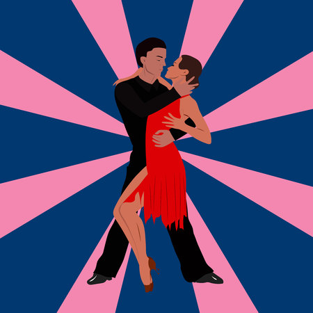 corazon: Salsa dancing couple man and woman in vector. International tango day