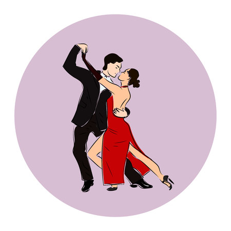 corazon: Salsa or argentine tango dancing couple man and woman in vector. International tango day