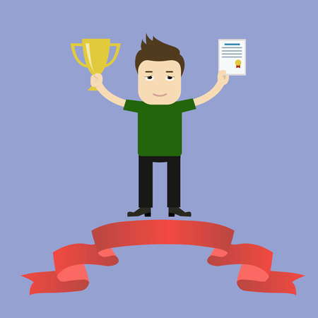 Vector illustration of businessman proudly standing on the winning podium holding up winning trophy and showing an award certificate. Flat style Illustration