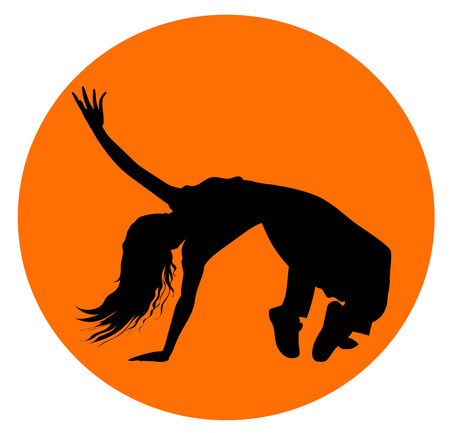 Black silhouette of girl or young woman performing break-dance, vector icon in orange circle