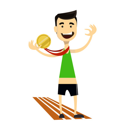 Runner wins and gets gold medal. Sporting Achievement. Vector image Illustration