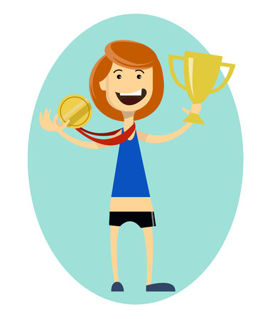Woman runner wins. Sport girl holding gold medal in the hand. Sporting Achievement. Vector illustration on blue background in ellipse