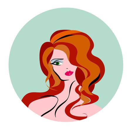 brow: Vector illustration of women long hair style icon, logo women face Illustration