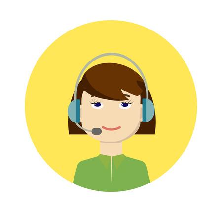 call centre girl: Vector call center girl operator
