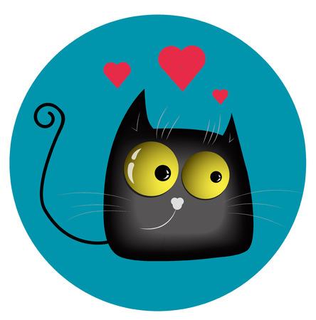 enamored: Funny enamored cat vector illustration
