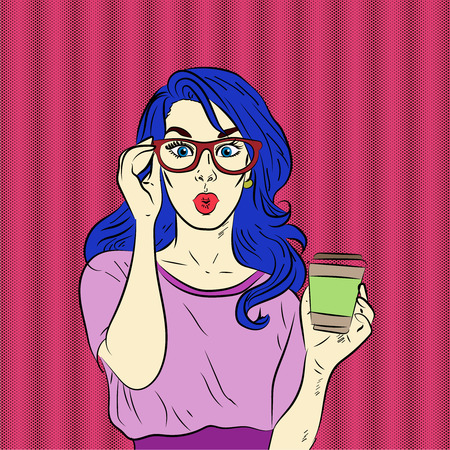 long drink: Pop art surprised blue hair woman face. Vector illustration.