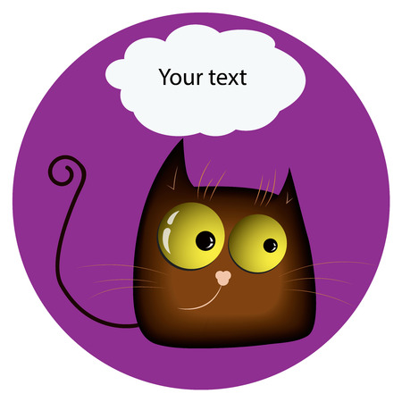textfield: Funny cat.with yellow glowing realistic eyes and speech bubble