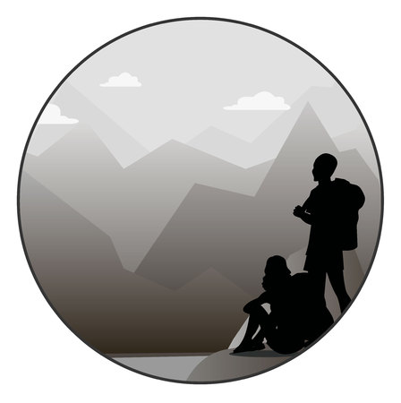 woman hiking: Young man and woman walking on a mountain trail and looking at a horizon Illustration