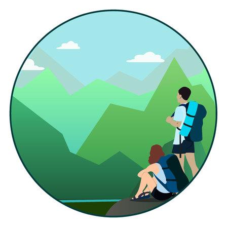 Hombre, mujer, ambulante, montaña, rastro, mirar, horizonte Foto de archivo - 80617291