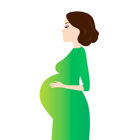Pregnant woman in green dress isolated on white