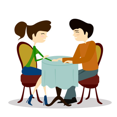 compatibility: Illustration of a Man and Woman Asking Each Other Questions at a Speed Dating Event sitting by the table in a cafe