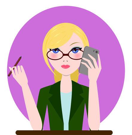 administrador de empresas: Gerente de la ayuda, admin, icono de la muchacha de la secretaria. Ilustración vectorial de dibujos animados plano