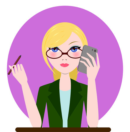 speach: Support manager, admin, secretary girl icon. Vector cartoon flat illustration Illustration