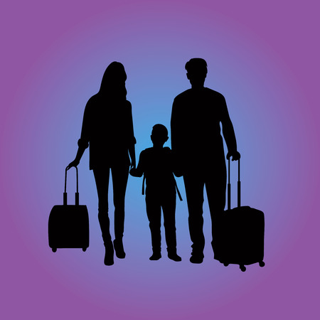 children silhouettes: traveling family at the airport