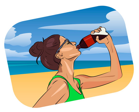 Woman drink water on the beach