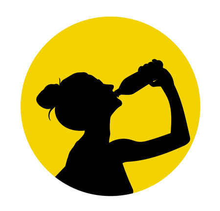 Black silhouette of woman drink water Illustration