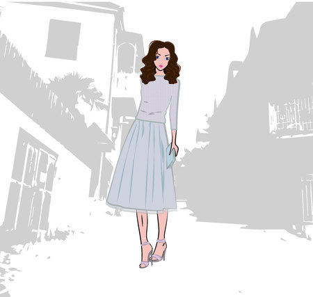 Fashionable cute girl dressed in knitted sweater and pleated skirt with tulle in the old city, vector fashion illustration Illustration