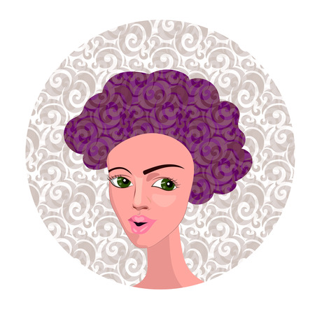 black youth: Vector Illustration of Cartoon Girl with Curly Hair