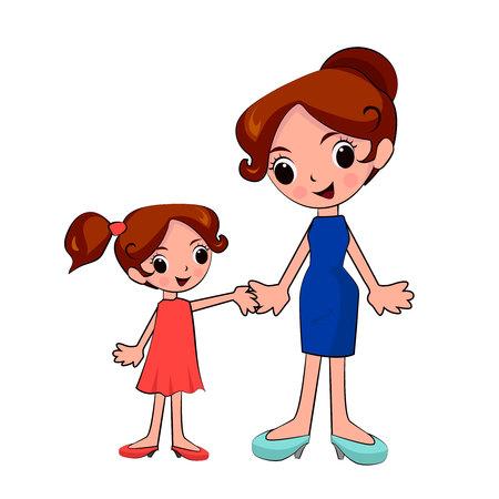 徒歩で手を繋いでいる母と娘  イラスト・ベクター素材