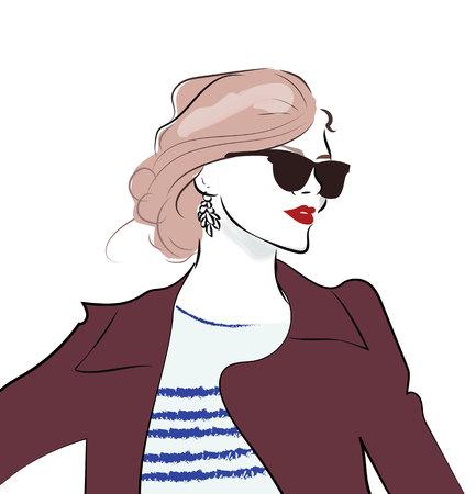 세련 된 손 선글라스에 그려진 된 소녀입니다. 패션 여자 스케치 일러스트