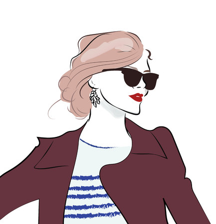 Stylish hand drawn girl in sunglasses. Fashion woman sketch