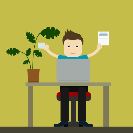 plant stand: Office worker or freelancer businessman. Vector cartoon illustration Illustration