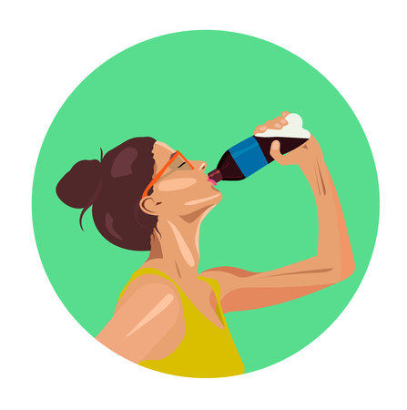 Beautiful and sexy girl drinking soda water vector portrait Illustration
