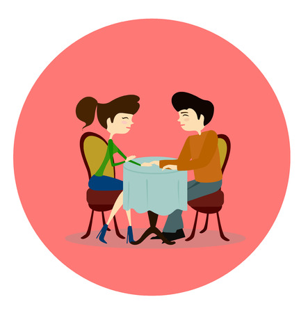 Illustration of a Man and Woman Asking Each Other Questions at a Speed Dating Event sitting by the table in a cafe