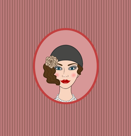 flapper: Flapper chica 20s-30s estilo retrato vignette frontispiece Vectores