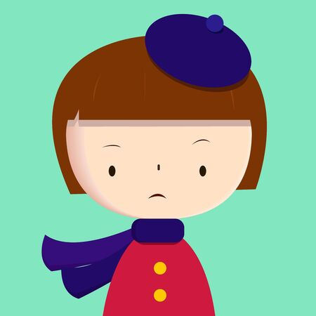 sad little girl: Cute girl wearing purple scarf and beret, windy and rainy autumn, spring or cold winter season, vector portrait, banner, illustration