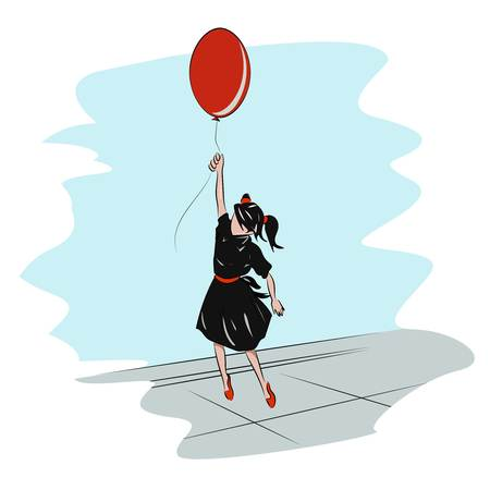 young girl feet: Little school Girl with a red balloon flying in the sky