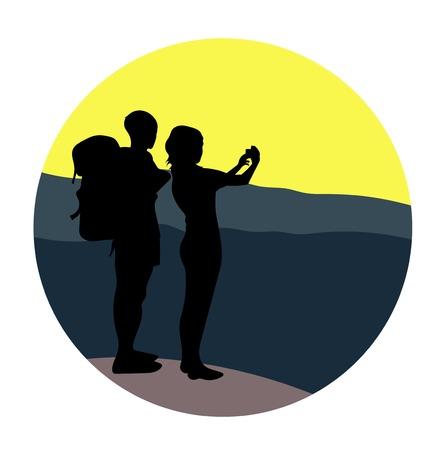 Pareja - joven y mujer - caminando por un sendero de montaña y mirando un horizonte, tomando una foto. Foto de archivo - 86616007