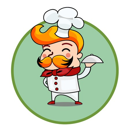 cute guy: Cartoon chef holding a dish plate