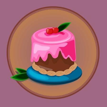Pastry desserts or bakery shop vector emblem.