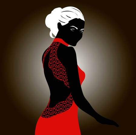 Silhouette of blonde woman in red dress with lace decor