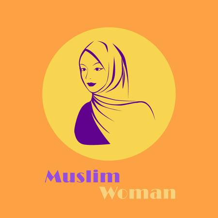 beautiful face of arabic muslim woman in hijab