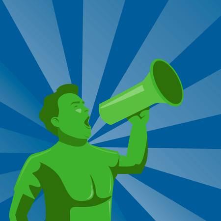 Man announcing through megaphone.