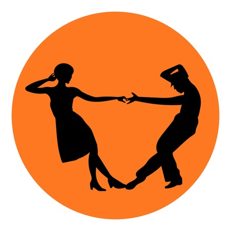 rockabilly: Couple man and woman dancing, vintage dance, black silhouettes