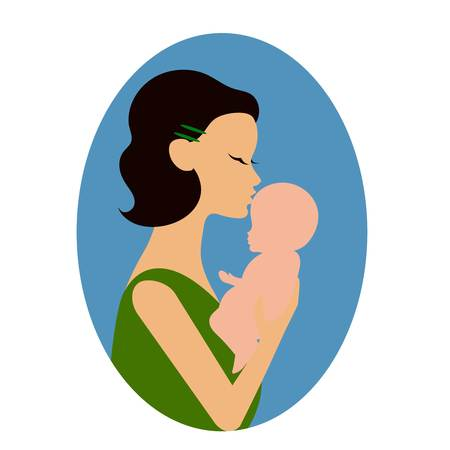 Mother holding a baby and giving him a kiss on the forehead or cheek Illustration