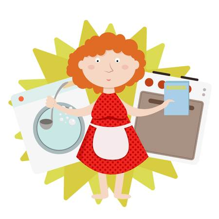 House work and household, everyday housekeeping, woman cooking and laundering, isolated vector illustration concept