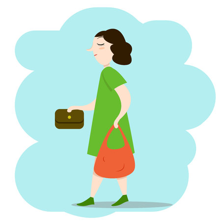 Woman walking down the street with bags, vector illustration Illustration