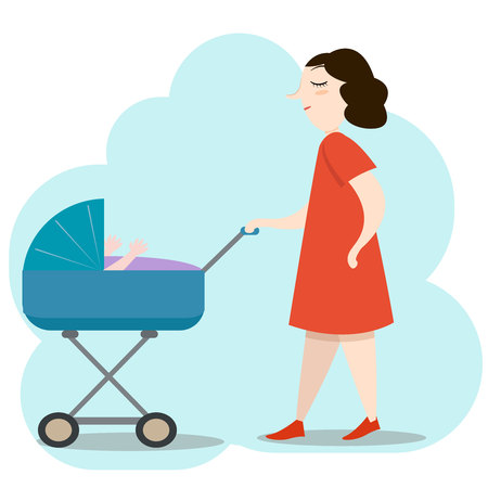 Beautiful young mother in red dress walking with her newborn baby in a blue pram colorful vector illustration