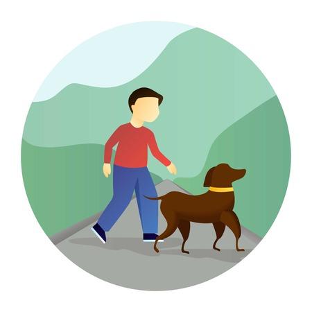 Boy walking with a dog. Illustration